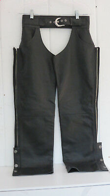 """Harley Davidson Black Leather Motorcycle Chaps Small 28-30"""" Waist"""