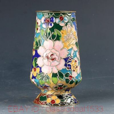 Chinese Cloisonne Handwork Carved Flower Brush Pot PA0810