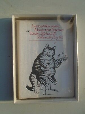 4 Vintage Note Cards Kliban Cat Catcards Cat Love To Eat Them Mousies (1977)