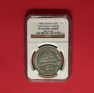 Amazing Lebanon 10 Livres Silver Proof Coin,winter Olympic 1980,Graded NGC PF 69