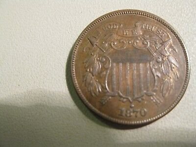 1870 two 2 cent piece high grade AU-UNC - BEAUTY!! - Selling 50+ year collection