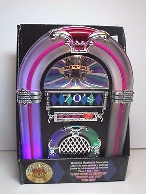 """70's Rock """"N"""" Roll Musical & Illuminated Jukebox Centerpiece New In Box 3 Songs"""