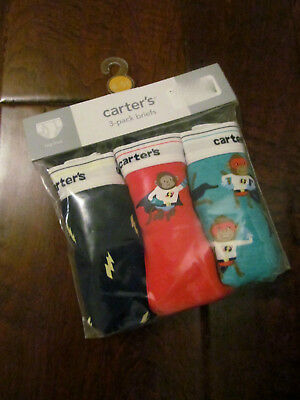 NEW Boutique Carter's Boys Sz 4 - 5T Set of 3 Pack Briefs Underwear Tag Free $