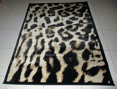 New Black/beige Animal Print Heatset Floor Themed Rug 120X170Cm