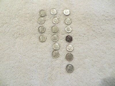 Roosevelt Dimes - 90% Silver - 17 Coins from 1960 thru 1964