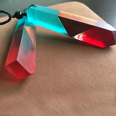 Women/Men Jewelry Fashion Necklace Colored Rope Chain Resin Wood Pendant