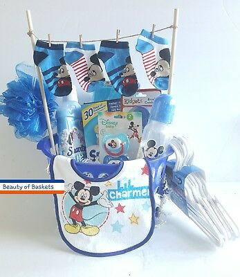 Mickey Mouse Laundry Clothesline Baby Gift Basket