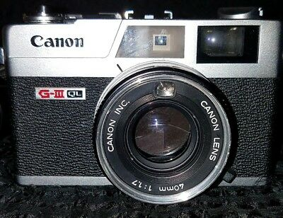 Vintage Canon Canonet GIII QL17 35mm Rangefinder Camera - In Working Condition