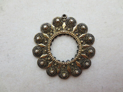 Antique VICTORIAN SILVER FILIGREE Mercury Gilt Gilded Coin Holder for NECKLACE