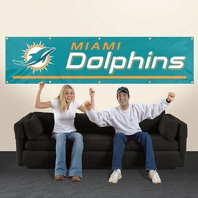 Miami Dolphins 8' X 2' Banner 8 Foot Heavyweight Nylon Sign Grommets Flag Nfl