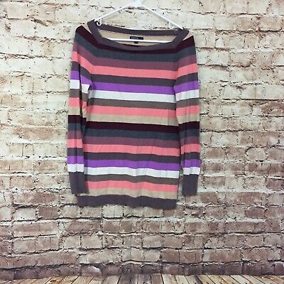 Gap Maternity Small Purple Pink Gray Striped Long Sleeve Sweater Good Condition