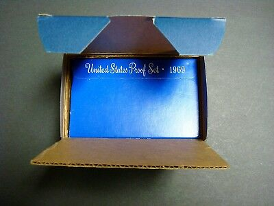 1969-S One Shipping Box Containing Five New Proof Sets With Silver Kennedy Half