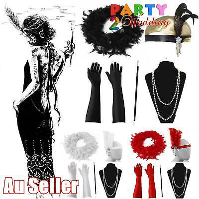 5pcs 1920's Gatsby Charleston Boa Flapper Cigarette Gloves Necklace Accessories