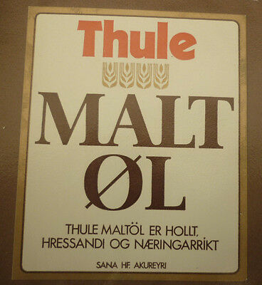 Old Iceland Beer Label, Sanitas Reykjavik, Thule Malt Ol