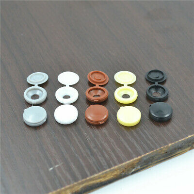 2017 Small Plastic Hinged Screw Cover Caps Black  White Grey Brown