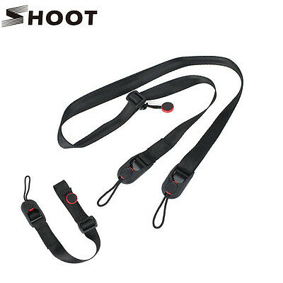 SHOOT Quick Release DSLR Cuff Wrist Belt + Leash Shoulder Strap Sling ABS Buckle