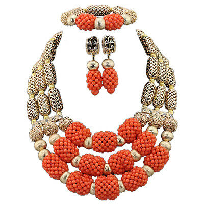 Bold Gold/Silver Pink Orange Brown necklace earrings Jewellery Set