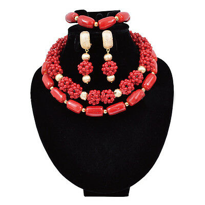 Coral African Nigerian Beads Bridal Wedding Jewelry Necklace Set