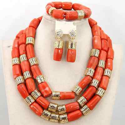 African Traditional Original Coral Beads Necklace Earring Bracelet Jewelry Set