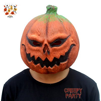 Pumpkin Head Latex Mask Halloween Party Costume Novelty Realistic Paint Adult