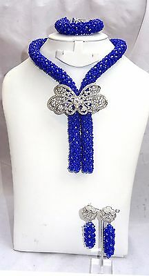PrestigeApplause Royal Blue Crystal Beads Necklace Party Bridal Jewellery Set