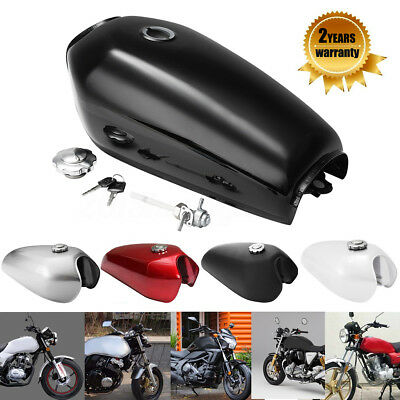 Universal Motorcycle 9L 2.4 Vintage Fuel Gas Tank FOR Honda CG125 Racer Silver