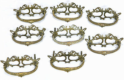 Set of 8 Antique/Vtg Ornate Brass Victorian Dresser Drawer Pulls Handles GRBC