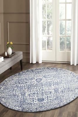 Blue Cream Grey Modern Rug Round Floor Mat Carpet FREE DELIVERY Edith 652