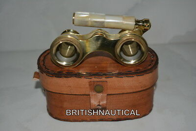 Binocular-Vintage-Opera-Theater-Glasses-Mother-Of-Pearl-W/-Leather-Box