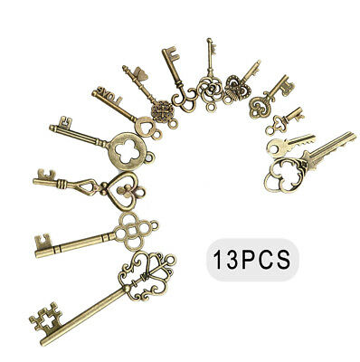 13pc Vintage Skeleton OLD LOCK Keys Charm Mix Set in Antique Bronze Pack of