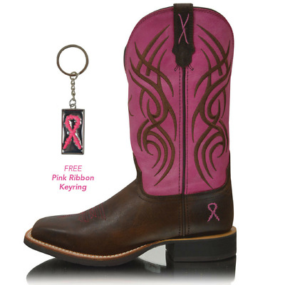 *NEW* Womens Pink Ribbon Ruff Stock Genuine Leather Twisted x Boots TCWRS0001