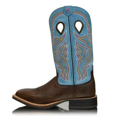 *NEW* Womens Blue Genuine Leather Twisted X Western Boots