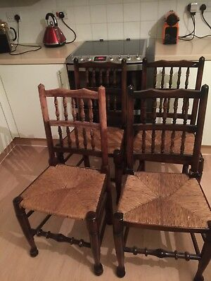 4 X Vintage Stick And Rail back Chairs With Woven Rush Seats