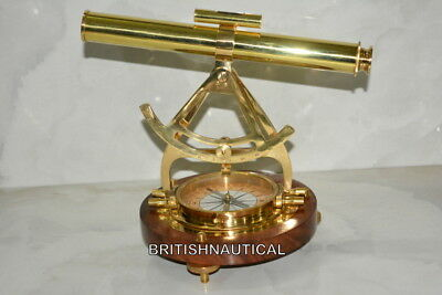 Nautical Solid Brass theodolite Alidade table compass telescope decorative gift