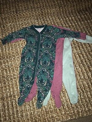 Next Baby Girl Green Bunny And Pink Stripe Babygrow Set 0-3 M