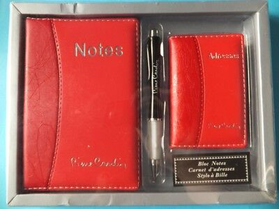 Pierre Cardin Gift Set Stationery Address Book Note Book Pen Red Leather Effect