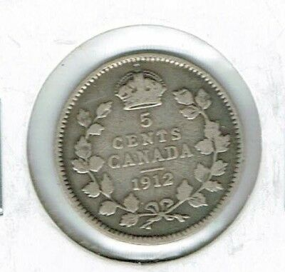 1912 Canadian Circulated  George V Silver Five Cent Coin!