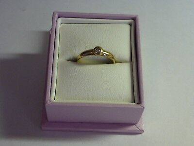 Vintage Diamond Ring Solitaire 9ct Yellow Gold, size O - P, 7.5 - 8