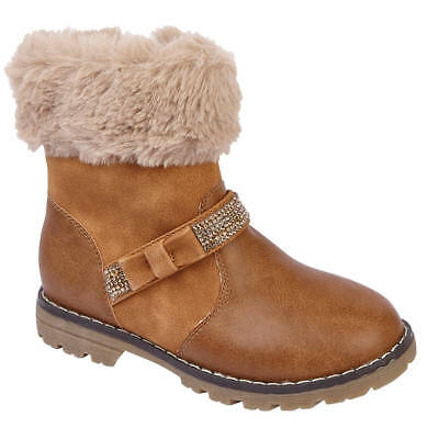 Girls Gypsy Dreamer Tan Ankle Biker Style Boots with Fur Cuff, Bow & Sequins