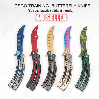 CSGO Balisong Butterfly Folding Knife Trainer Training Practice Metal Steel Tool