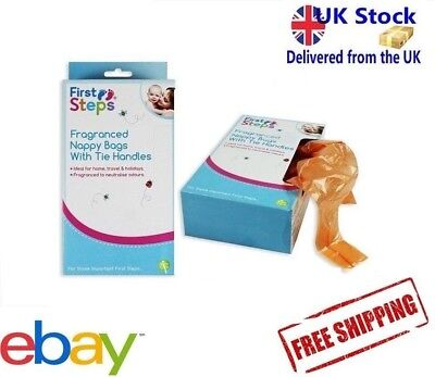 First Steps Fragranced 150 Nappy Bags With Tie Handle Changing Disposal