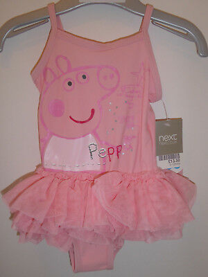 NEXT Cute Girls Pink Peppa Pig Swimming Costume Swimwear 9-12 Months Pepper