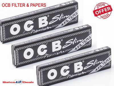 OCB Black FILTER & PAPERS Premium King Size Slim Rizla Natural Rolling Smoking