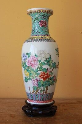 Vintage  Large Chinese Poetry  Famille Rose vase, Red mark to base.