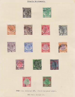 Straits Settlements 1924/37 Collection 5 Pages Used & Mint Mounted to $5