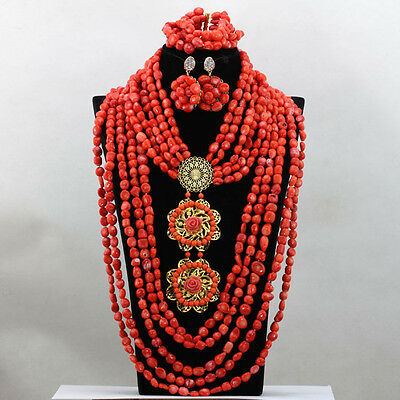 Eleganrt Coral Layers African Nigerian Beads Bridal Wedding Jewelry Necklace Set