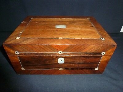 Victorian Wood Box With Mother Of Pearl Inlay