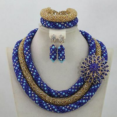 Gold and Blue Bridal Wedding African Beads Jewellery Set