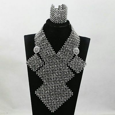 PrestigeApplause Latest Design Mixed African Beads Party silver Jewellery set