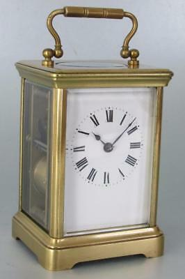 ANTIQUE STRIKING CARRIAGE CLOCK two train with 1/2 hour gong strike